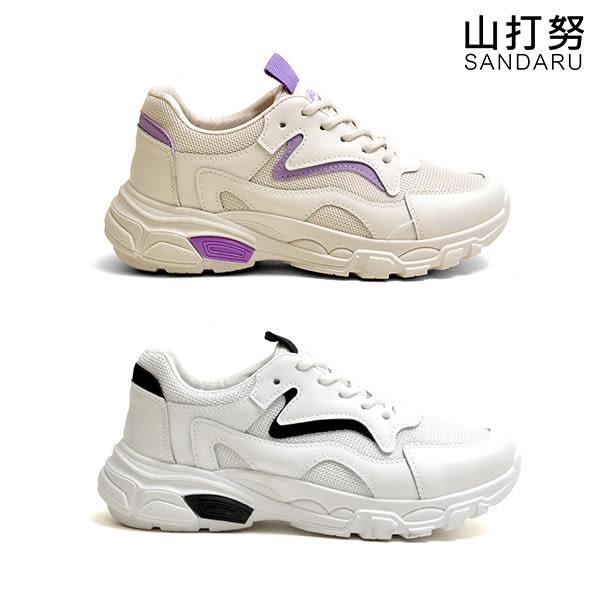 小白鞋 織網拼接綁帶休閒鞋- 山打努SANDARU【0905#46】