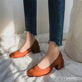 包鞋 英倫風方頭奶奶鞋女春秋季韓版百搭中粗跟豆豆鞋樂福單鞋 瑪麗蘇
