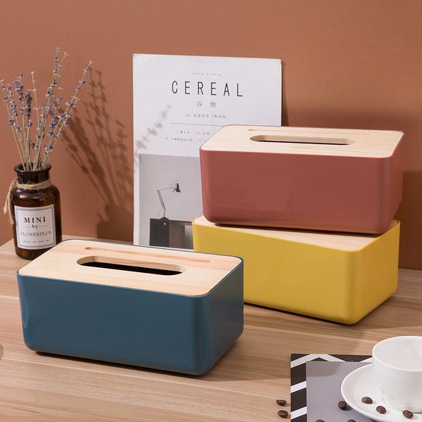木蓋單色塑料面紙盒 衛生紙盒 桌上型面紙盒 置物盒 餐巾紙盒 收納置物盒 收納 紙巾盒【RS1129】