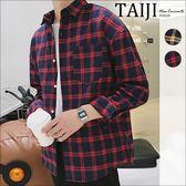 格紋長袖襯衫‧胸前口袋設計雙線格紋長袖襯衫‧二色【NJ0606】-TAIJI-