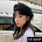 OT SHOP [現貨] 帽子 貝雷帽 畫家帽 女款 黑色 雙層 網紗 帽圍可調 韓系 復古時尚 早秋穿搭 C2212