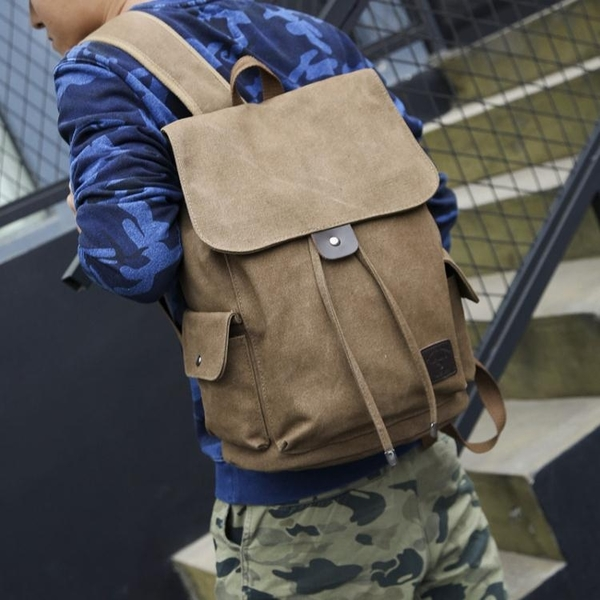 後揹包-時尚潮流後揹包男女初高中大學生書包電腦休閒帆布旅行李包揹包桶 依夏嚴選