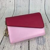 BRAND楓月 Christian Dior 迪奧 桃紅幾何拼接中夾 馬卡龍紫 雙色 錢夾 錢包 皮夾 皮包