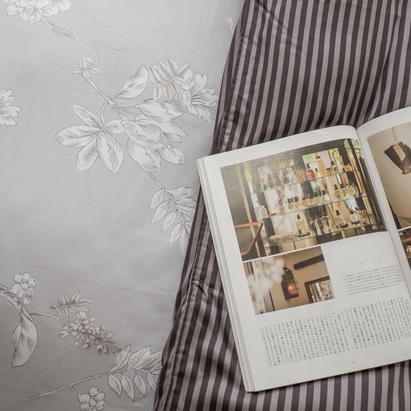 天絲床組 鐵樹開花 Q4雙人加大薄床包與兩用被四件組 台灣製 (40支)100%天絲 棉床本舖