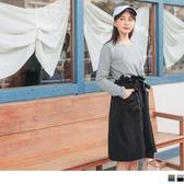 《DA7006-》純色圓領拼接花苞綁帶長裙假兩件洋裝 OB嚴選