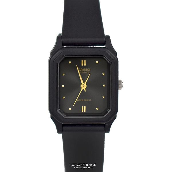 CASIO手錶 小巧方形黑金矽膠錶NECA7