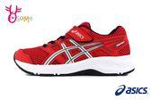 ASICS CONTEND 5 PS 亞瑟士運動鞋 中童 透氣 輕量 緩震 慢跑鞋 A9101#紅色◆OSOME奧森童鞋