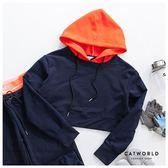 Catworld 活力亮橘。撞色抽繩短版運動帽T【11201301】‧S-XL
