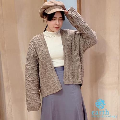 麻花編織短版綁帶針織罩衫