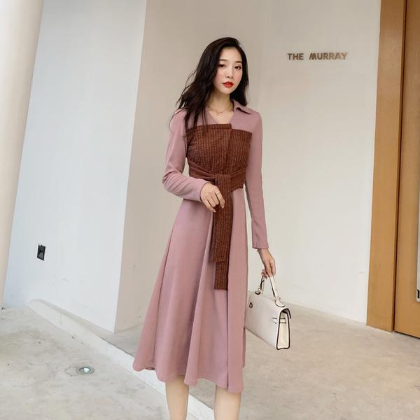 絕版出清 韓系氣質撞色腰部腰帶針織大擺長版長袖洋裝