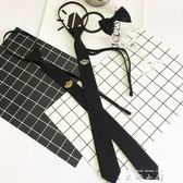 時尚潮流新款男士小領帶皇冠刺繡發型師細窄黑色5cm懶人拉鏈配飾     米娜小鋪