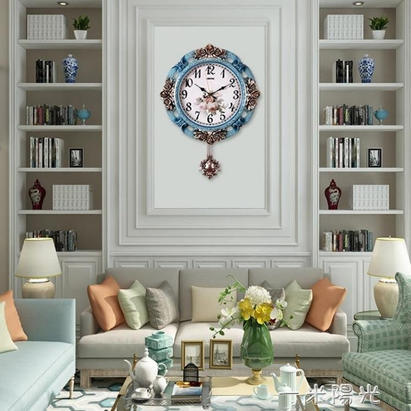 掛鐘客廳家用個性創意時尚現代簡約鐘錶歐式大氣壁鐘北歐裝飾時鐘  一米陽光