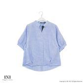 【INI】立體飄逸、質感面料剪裁寬袖上衣.灰藍色