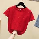 鏤空上衣 正韓夏裝女裝時尚重工個性鏤空紅色t恤女短袖寬鬆上衣潮-Ballet朵朵