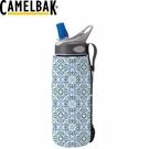 【CamelBak 美國 水瓶保溫隔熱層 花紋藍】 90751/運動水壺/水壺/耐撞擊/抗菌/提把/登山/露營