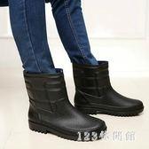 雨靴 皮紋男士雨鞋中短筒雨靴釣魚防滑套鞋膠鞋廚師鞋洗車鞋LB4145【123休閒館】