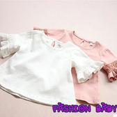 童裝女童 蕾絲短袖T恤 兒童圓領 打底衫上衣  Fashion Baby