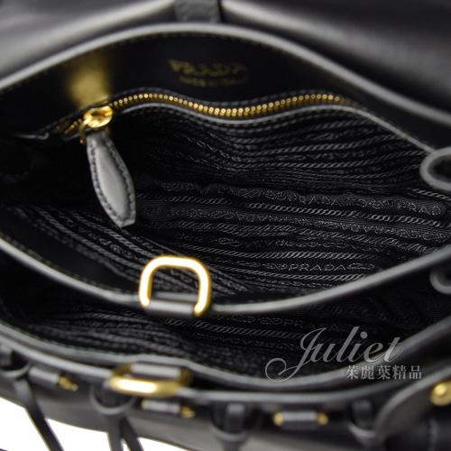 茱麗葉精品【全新現貨】PRADA 1BD050 Corsaire 絎縫菱格拼接斜背包.黑