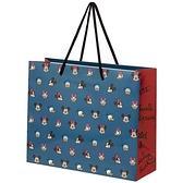 小禮堂 迪士尼 橫式方形手提紙袋 中提袋 禮物紙袋 包裝紙袋 禮品袋 (暗藍 滿版) 4973307-53671