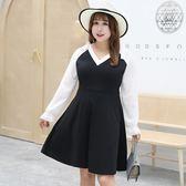 中大尺碼~高腰身立體剪裁長袖連衣裙(XL~4XL)