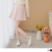 《CA2246-》高含棉甜美拼接條紋A字波浪圓裙 OB嚴選