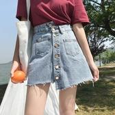 牛仔短裙 春季韓單排扣毛邊牛仔短裙女夏 學生高腰顯瘦個性不規則a字半身裙