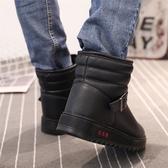 冬季防水雪地靴男士防滑保暖棉皮靴加厚加絨短筒厚底面包男棉靴子  魔法鞋櫃