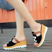 高跟涼鞋 2021新款韓版百搭厚底坡跟涼拖鞋女夏季鬆高跟鞋子時尚外穿女拖鞋 百分百