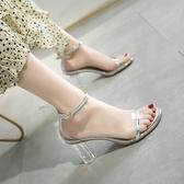 歐美透明高跟魚嘴涼鞋一字帶露趾粗跟