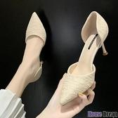 高跟鞋 網紅單鞋女韓版2020年春款法式少女高跟鞋細跟百搭貓跟尖頭工作鞋