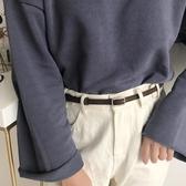 方扣細腰帶男女裝飾百搭配裙子小 皮帶chic學生韓國時尚ins褲帶黑 青木鋪子