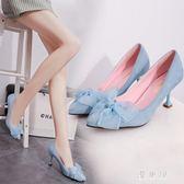 宴會鞋高跟細跟尖頭韓版蝴蝶結女鞋子百搭女單鞋淺口蕾絲低幫鞋 QG4983『優童屋』