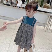 女童裙子夏純棉假兩件洋氣兒童裙子2021潮女童公主女寶寶洋裝/連身裙子 快速出貨