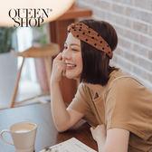 Queen Shop【07090219】配色絨布點點鬆緊髮帶 兩色售*現+預*
