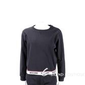 MOSCHINO Logo 織帶黑色棉質運動衫 1930131-01