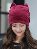 帽子女可愛貓耳朵春秋薄款產后月子帽時尚休閑堆堆帽個性潮流睡帽 【快速出貨】