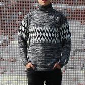 台灣製○高領圖騰花紗針織毛衣男裝(M/L)-獨具衣格