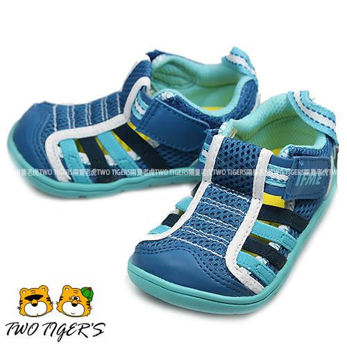 日本 IFME 藍色 透氣網布 魔鬼氈 機能運動涼鞋 小童鞋 NO.R1319