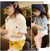 夏季新款中大女童破洞上衣打底衫短袖T恤PLL3593【男人與流行】