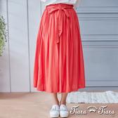 【Tiara Tiara】亮眼鬆緊腰綁帶長百摺裙(紅)