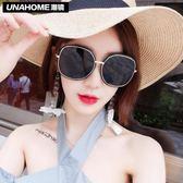 韓版大框太陽鏡女潮圓臉顯瘦網紅款沙灘墨鏡新款防曬眼鏡 至簡元素