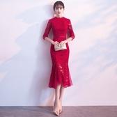 新娘敬酒服旗袍春夏季紅色回門中長版魚尾現代結婚禮服女