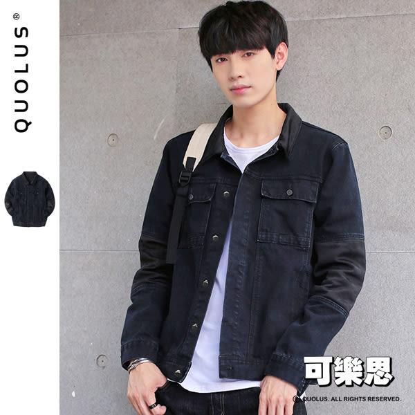 黑迷彩 接袖 率性 男生牛仔外套 【RP-WC354】『可樂思』