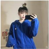 秋裝2019新款韓版寬鬆bf百搭時尚連帽上衣運動風休閒外套女ins潮 蘑菇街小屋