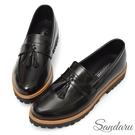 紳士鞋 復古流蘇尖頭樂福鞋