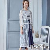 【Tiara Tiara】優雅緹花薄透長版罩衫(白) 新品穿搭