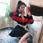 套裝女夏2018新款韓版氣質條紋POLO領長袖外套上衣 百褶半身裙女