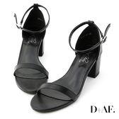 D+AF 恬靜夏氛.簡約一字繫踝中跟涼鞋*黑
