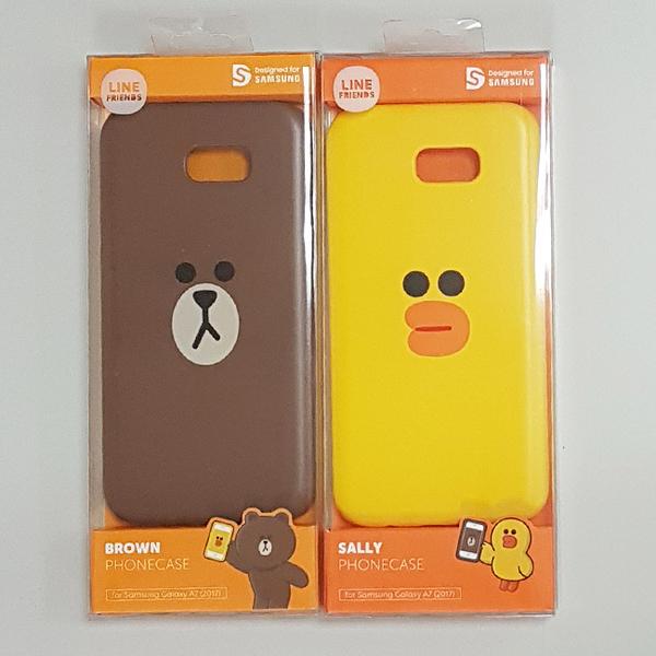 LINE原廠-Samsung A7(2017)  莎莉 / 熊大矽膠保護殼