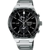 SEIKO 精工 SPIRIT 太陽能兩地時間計時碼錶/手錶-黑/41mm V195-0AE0D(SBPJ025J)